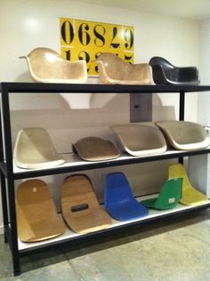 early molded plastic and fiberglass Eames seat samples