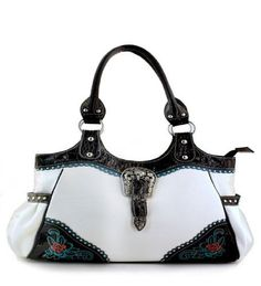 White Flower Accent Western Buckle Purse - Handbags, Bling & More!