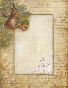 Free Lilac & Lavender: Vintage Easter Bunny & Chicks - stationary
