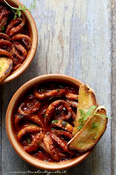 POLIPETTI AFFOGATI (Campania) a simple but very tasty dish made with little octopus cooked in the tomato sauce