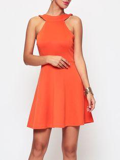 #AdoreWe #FashionMia Skater Dresses - FashionMia Plain Charming Crew Neck Skater-dress - AdoreWe.com