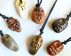 Pottery Owl Pendant / ONE / Handmade / Owl Charm / Ceramic Pendant / Focal / Jewelry Supply / Owl Lover Gift / Party Favors / Owl Jewelry