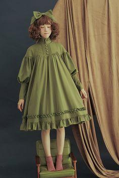 Pure Love Unicolor Chiffon Long Sleeves High Collar Classic Lolita OP Dress
