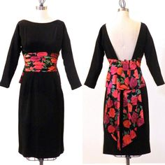 1950s Dress Black 50s Wiggle Dress and Floral Roses Silk Sash by daisyandstella, $175.00  https://www.etsy.com/listing/163260293/1950s-dress-black-50s-wiggle-dress-and