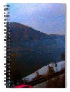 "This x spiral notebook features the artwork ""Mountain, water and road. Notebooks For Sale, Spiral, Water, Artwork, Prints, Painting, Color, Gripe Water, Work Of Art"