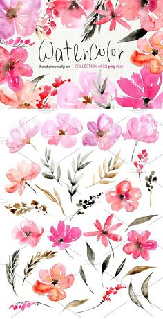 Pink watercolor flowers. Wedding Card Templates