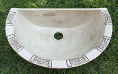 Ceramic basin, prep bowl. This item is handmade with stoneware pottery clay for bathroom, kitchen, braai area and more. Half / 3/4 size basin in earthy beige with engraved leaf pattern. Basin / prep bowl without a rim, for standing on the counter. Suitable for indoors and outside.