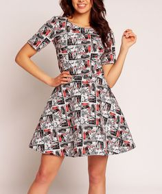 Look at this Nommo Black & Red Comics Fit & Flare Dress on #zulily today!