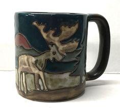 Moose Mug Mara Moose Pattern 16 Oz Dark Handle