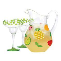 Designs By Lolita - Fruit Medley Acrylic Pitcher | Lolita Martini & Wine Glasses