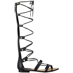 GUESS Mylanie Knee-High Gladiator Sandals (78 AUD) ❤ liked on Polyvore featuring shoes, sandals, gladiator sandals, studded shoes, studded sandals, gladiator sandals shoes and studded gladiator sandals