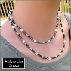 """Gemstone Crystal Necklace Green Lace Stone Beads White Catseye Rounds """"Moonlit Forest"""" #etsy #fashion"""
