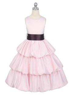 Pink 3 Layered Pick Your Sash Satin Bubble Flower Girl Dress