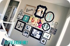 Gallery Wall:  use a limited amount of color to add drama to certain pieces and help the wall display cohesiveness. Photos, mirrors, letters, detailed frames.
