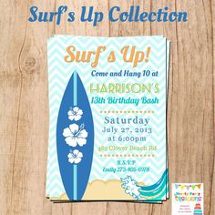SURF'S UP invitation YOU Print by PrettyPartyCreations on Etsy, $11.50