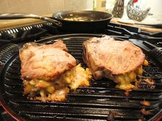 Avery's Havarti & Apple stuffed Pork Chops Recipe - use stuffing recipe with candied almonds, bread, and bacon