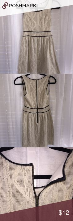 Cream Dress with Leather Detailing Beautiful and comfortable cream dress with black leather detailing. Size small! Lightweight and adorable! Worn once!! 🌿smoke free home 💕happy to bundle Dresses Midi