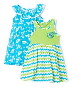 This Green Butterfly & Zigzag A-Line Dress Set - Toddler & Girls is perfect! #zulilyfinds