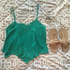 ✨HP SALE NWT Green Sheer Crop Top Triangle Points NWT, brand new/never worn.  Purchased from a boutique in Dallas, with tag attached! Beautiful emerald color, sheer material, strappy crop top with great flow.  The material comes to a triangular point in the front and back, loose fitting, looks really cute with denim shorts.  Can be dressed up or down. Smoke free and pet free home! **Not Urban, just tagged for exposure! Make me an offer! HOST PICK of Pretty, Flirty, & Girly party 4/2…