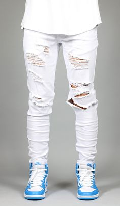 White Destroyed Zipper Pants