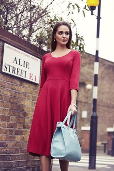 http://www.aliestreet.com/occasionwear/item/ASCLDCP/Claire-Dress-(Chilli-Pepper).html  An easy on the eye 1950s inspired red ponte roma dress in our exquisite roma fabric.