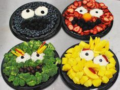 Fruit and Vegetable food art for kids ❥➥❥ It's Cookie Monster, Animal, Oscar the Grouch and Big Bird... pinned with Pinvolve - pinvolve.co