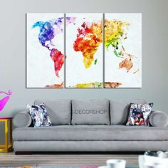 Colorful World Map Canvas Print Contemporary 3 by WorldMapCanvas
