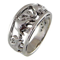 Trunk Up Family Elephant Sterling Silver 92.5 Ring and black oxidized for perfect look by jewelkingthai on Etsy https://www.etsy.com/listing/87552579/trunk-up-family-elephant-sterling-silver