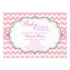 Pink Chic Chevron Baby Shower Custom Invitation
