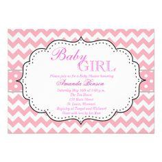Pink Chic Chevron Baby Shower Custom Invitation