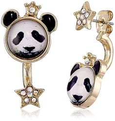"Betsey Johnson ""Costume Critters"" Panda and Star Mismatch Front and Back Earring Jackets -- Find out more about the great product at the image link."