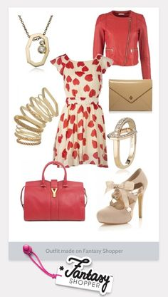 Cream and red heart dress <3