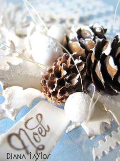 Blue pinecone Christmas card detail by Velvet Moth Studio