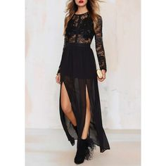 Stylish Jewel Neck Long Sleeve See-Through Voile Splicing Dress For Women