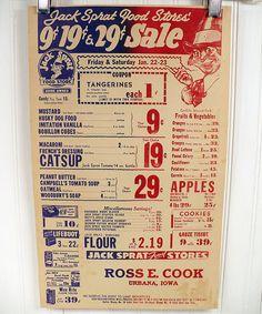 Vintage Grocery Store Poster 1940s  Jack Sprat by vintagegoodness, $12.95