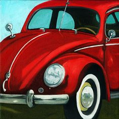 Classic VW bug 50's red vintage car original oil painting | Apple Arts