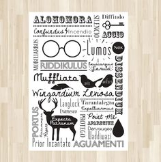 Wizards' and Witches' Guide to Awesome Spells Retro Cool Art Wall Decor  :  Illustration 8 X 10 Harry Potter Poster Quote