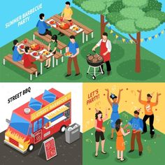 Barbecue Isometric Design Concept - Food Objects Download here : https://graphicriver.net/item/barbecue-isometric-design-concept/19627468?s_rank=124&ref=Al-fatih