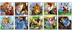 "A special edition of ten stamps went on sale in the UK to celebrate 150 years of ""Alice in Wonderland"", the most emblematic work of the English writer Lewis Carroll. Uk Stamps, Postage Stamps, Lewis Carroll, Grimm, Alice In Wonderland Pictures, Popular Cartoons, Illustration, Adventures In Wonderland, Book Design"