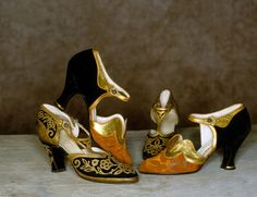 """1925 Shoes from the Tirelli Costumi company.  These are originals from their """"Collezione Autentici"""" - This company recreates vintage attire for the theater & movies.  Sometimes their """"costumes"""" have been represented as actual vintage items.  They have won several oscars for their creations."""