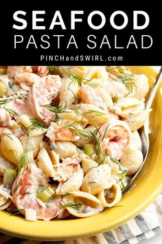 An easy recipe for the best, cold Seafood Pasta Salad with crab and shrimp and crunchy celery in a creamy dressing! With capers, fresh dill, real lump crab meat, and shrimp cooked in a flavorful blend of salt (or Old Bay Seasoning) and fresh lemon. Crab Pasta Recipes, Lump Crab Meat Recipes, Sea Food Salad Recipes, Easy Meat Recipes, Seafood Recipes, Shellfish Recipes, Vegetarian Recipes, Crab Pasta Salad, Pasta Salad Italian