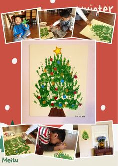 Handprint Christmas tree for holidays! :)