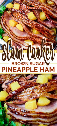 Slow Cooker Brown Sugar Pineapple Ham - Slow Cooker Ham is a classic and iconic meal, yet this is THE BEST variation on this recipe. Slow Cooker Ham Recipes, Best Slow Cooker, Gourmet Recipes, Cooking Recipes, Crockpot Ham Recipe, Ham In Slow Cooker, Recipes For Ham, Best Ham Recipe, Recipes Dinner