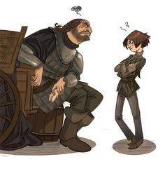 A Song of Ice and Fire - Sandor Clegane (The Hound) and Arya Stark (by marasbazaar)