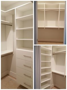 White Melamine Walk In Closet With Adjustable Shelves, Double Hang, And  Drawers.