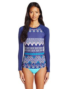 Women's Rash Guard Shirts - Roxy Womens Exotic Line Long Sleeve Rashguard * Check out the image by visiting the link.