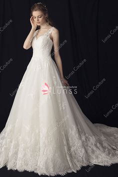 4e88056e68f Stunning Wide Straps Ball Gown Floor-length Ivory Tulle Lace Wedding Dress.  Lunss