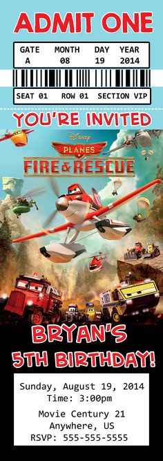 Disney Planes Fire and Rescue Movie Birthday Ticket Invitation $8.99