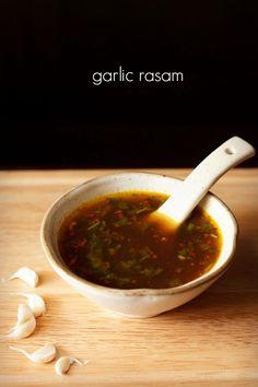 garlic rasam recipe - spiced, sour rasam seasoned with garlic and spices. no readymade rasam powder required.
