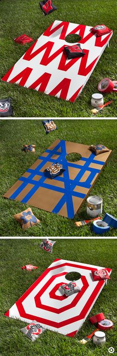 Whether you call it Cornhole, Bean Bag toss, or just Bags, put your own little DIY spin to it with some fun-patterned Duck tape and bling out this family favorite yard game in college colors.